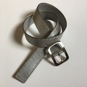 Cole Haan Silver Leather Stitched Belt M
